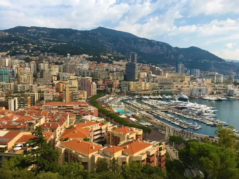 A view of orange rooftops in Monaco.