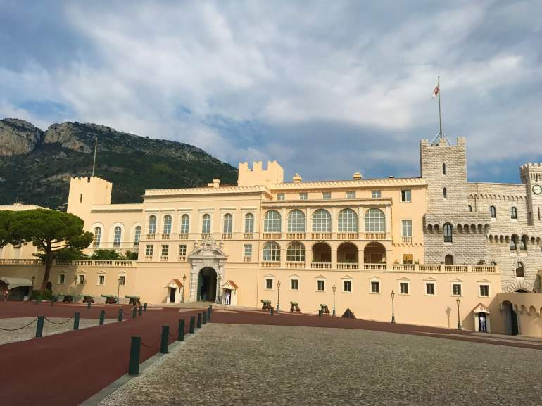 A view of the Prince's Palace from Palace Square, which is a great budget activity in Monaco.