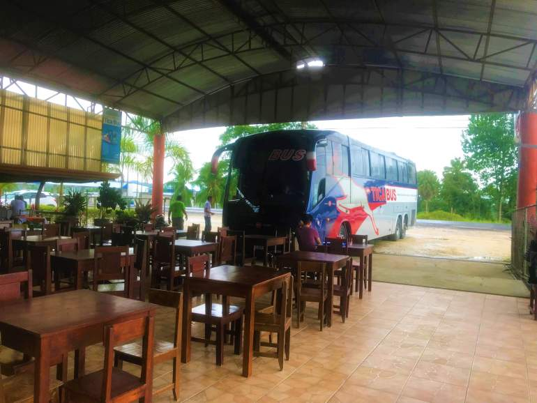 One of the advantages of bus travel is that you may get to try local food, such as at this restaurant.