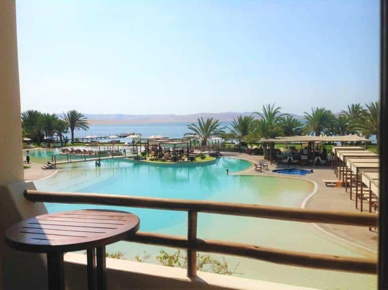 View of the pool from La Hacienda Bahía Hotel.