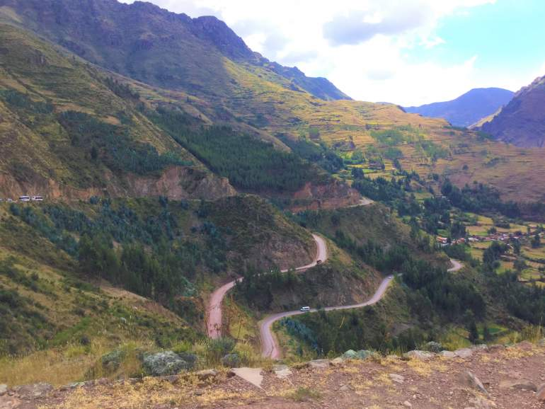 Winding road in the Sacred Valley.