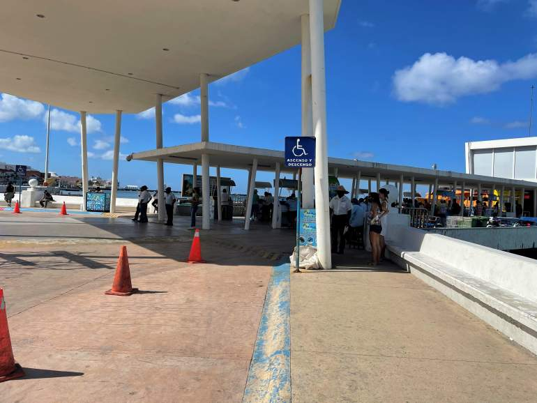 Wheelchair accessible drop off at Cozumel ferry station.