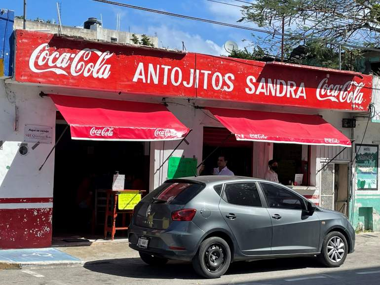 Entrance to Antojitos Sandra, which is one of the budget Mexican restaurants in Playa del Carmen.