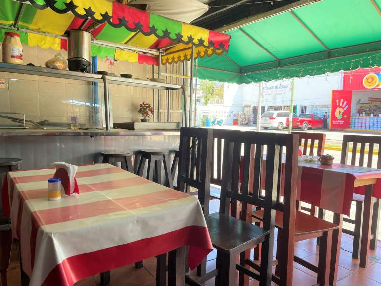 One of many local Mexican restaurants in Playa del Carmen.