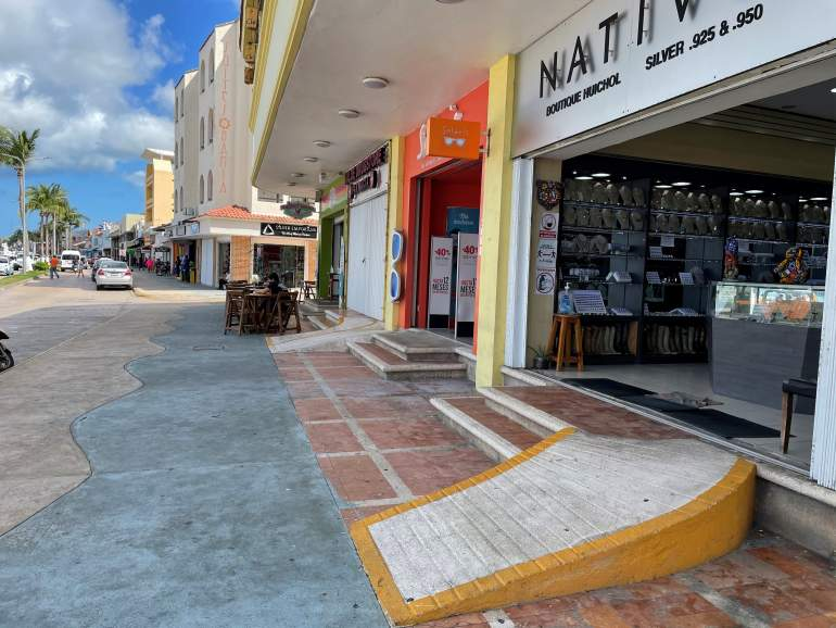 Wheelchair accessible ramp at stores in Cozumel.