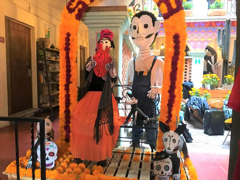 Selina decorated for Day of the Dead.
