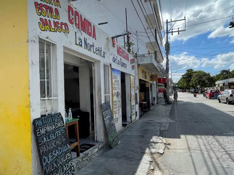 The entrance to La Norteñita de La Quince, a Mexican restaurant in Playa del Carmen.