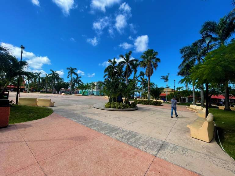 Wide, flat open space of the Zocalo of Cozumel.