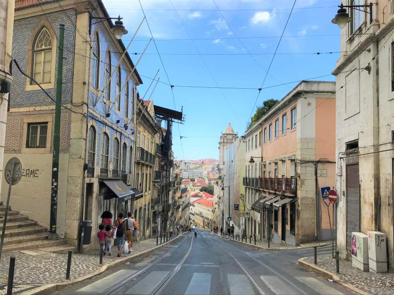 Steep hill that Selina is on in Lisbon.