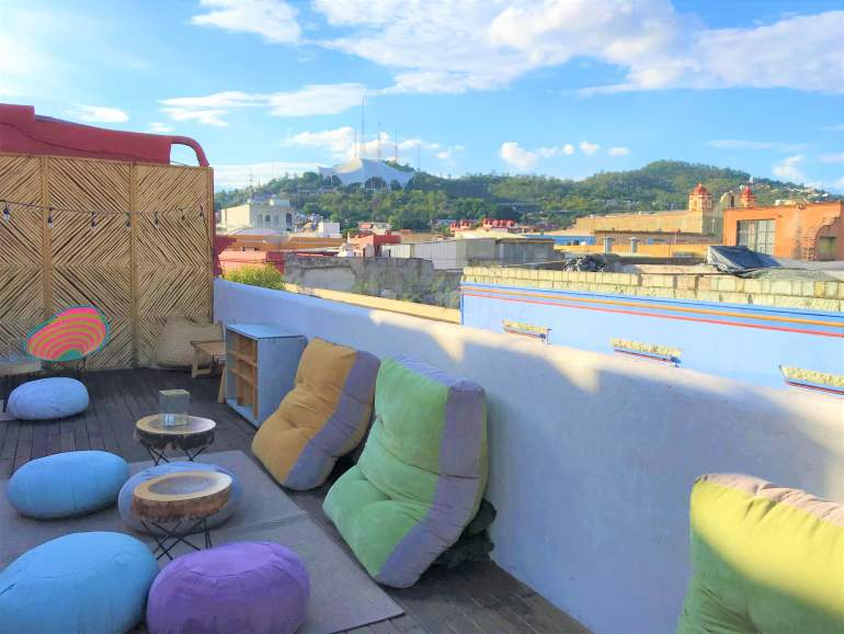 Rooftop bar and lounge area at Selina Oaxaca.