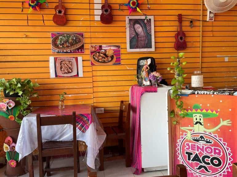 Bright orange decor of Señor Taco.