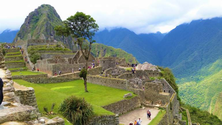 A view of Machu Picchu with green grass.