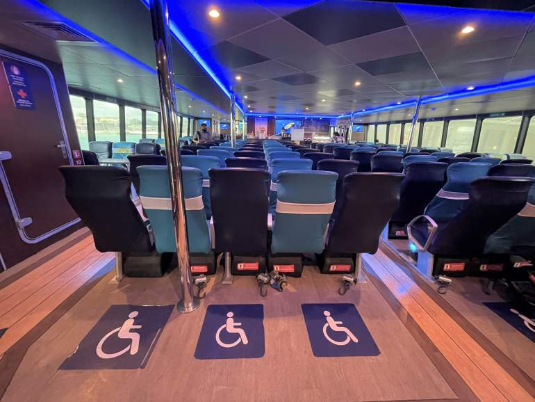 Wheelchair accessible spaces on Ultramar ferry to Cozumel.