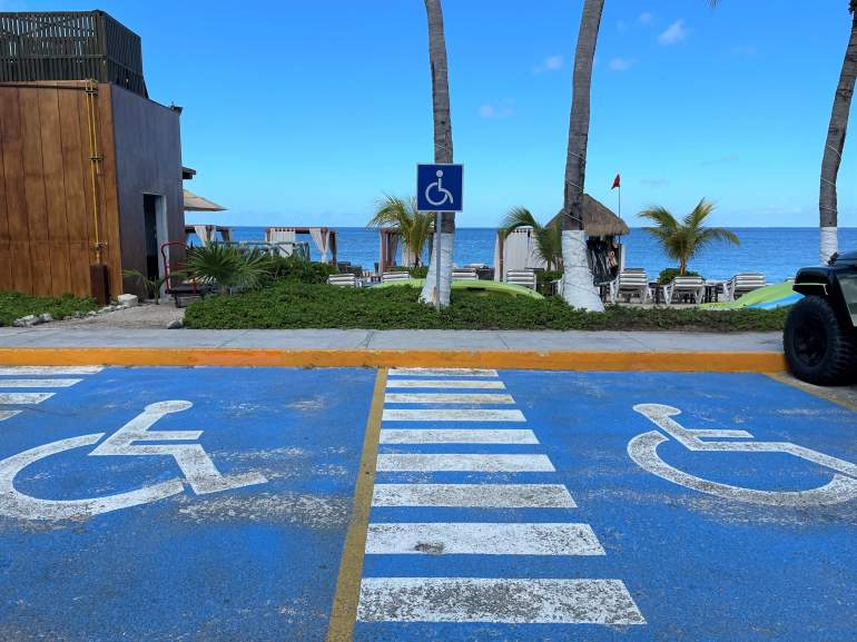 Two accessible parking spaces in Cozumel.