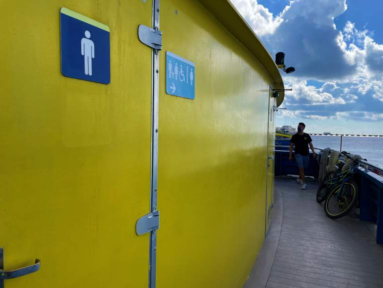Wheelchair accessible restrooms on Ultramar ferry.