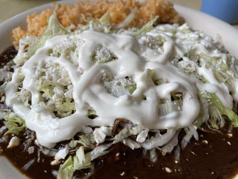Enchiladas with mole at Cocina Doña Paula.
