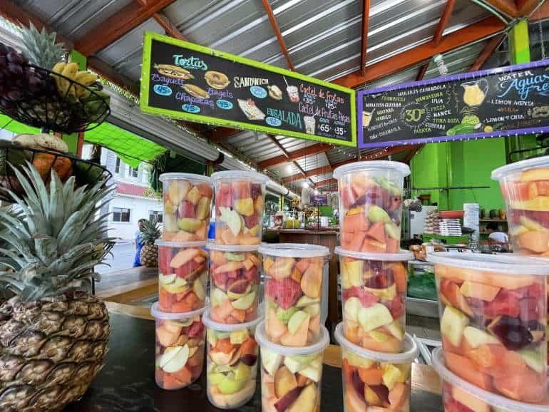 Fruit stand menu in Playa del Carmen.