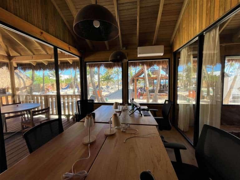 Ocean view at the cowork at Selina Isla Mujeres.