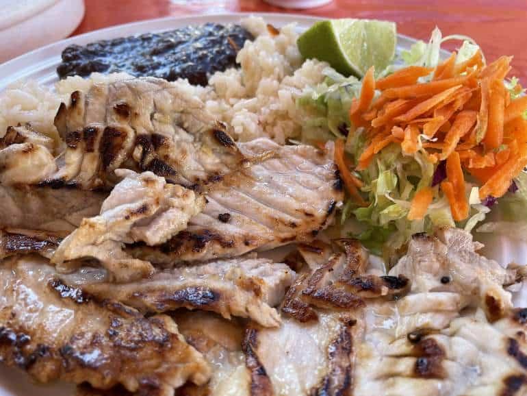 Fish dish from Lonchería Tacos-Tumbras in Isla Mujeres.