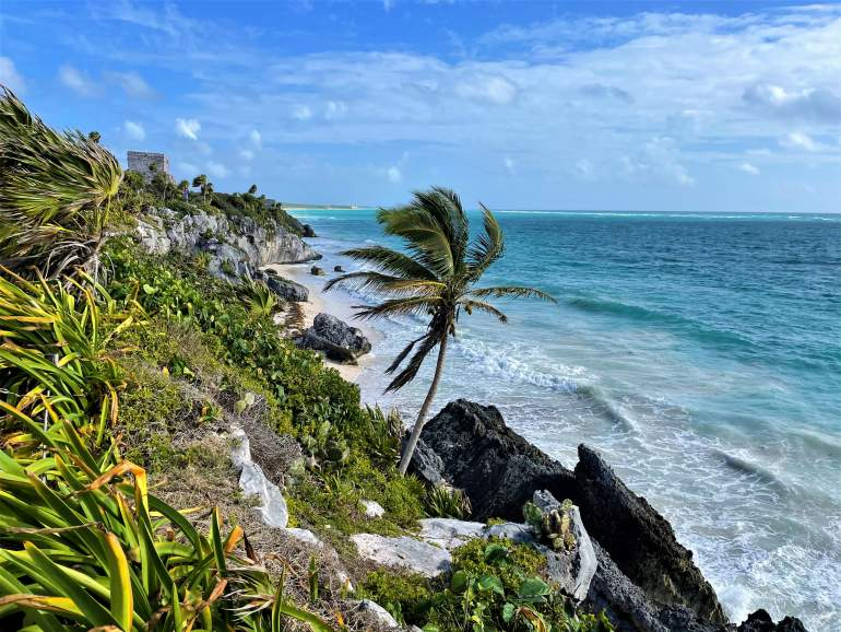 The iconic view of the Tulum Ruins.