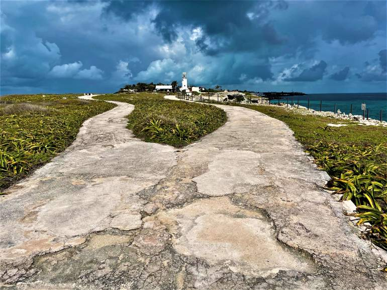 A cracked cement path at Punta Sur.