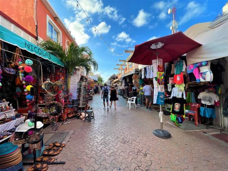 The wheelchair accessible Miguel Hidalgo Street in Isla Mujeres.