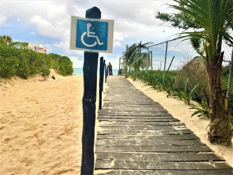 Wheelchair accessible entrance at Playa 88 in Playa del Carmen.