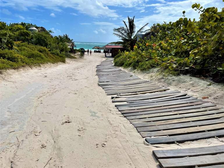 An old wooden wheelchair accessible path at Playa Maya in Tulum.