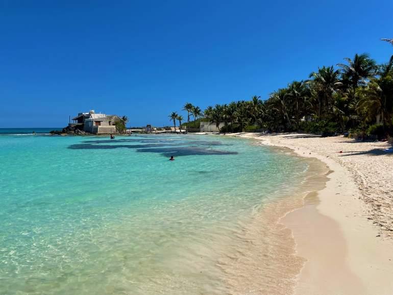 Crystal clear water in Playa Norte.
