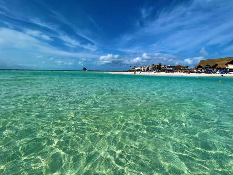 Crystal clear water at Playa Norte in Isla Mujeres.