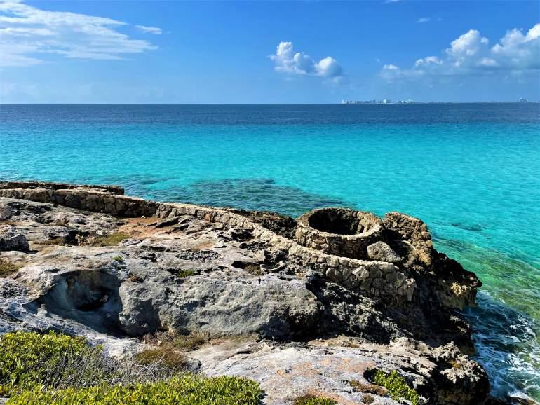 Ruins by the ocean in Punta Sur, Isla Mujeres.