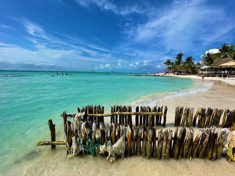 Wooden posts in the ocean.