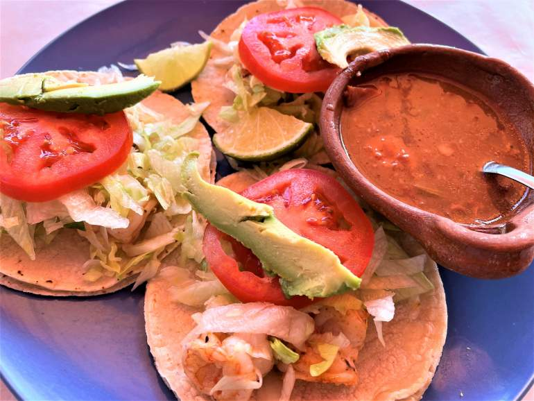 Shrimp tacos from Letty's restaurant on Isla Mujeres.