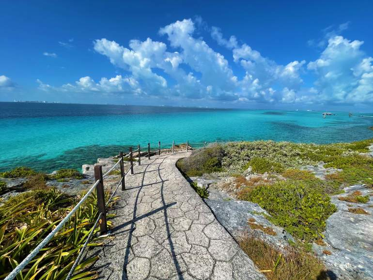 An accessible path overlooking the ocean at Punta Sur, Isla Mujeres.