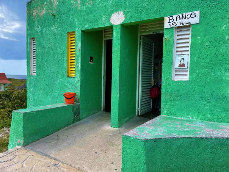 Wheelchair accessible restroom in Isla Mujeres at Punta Sur.