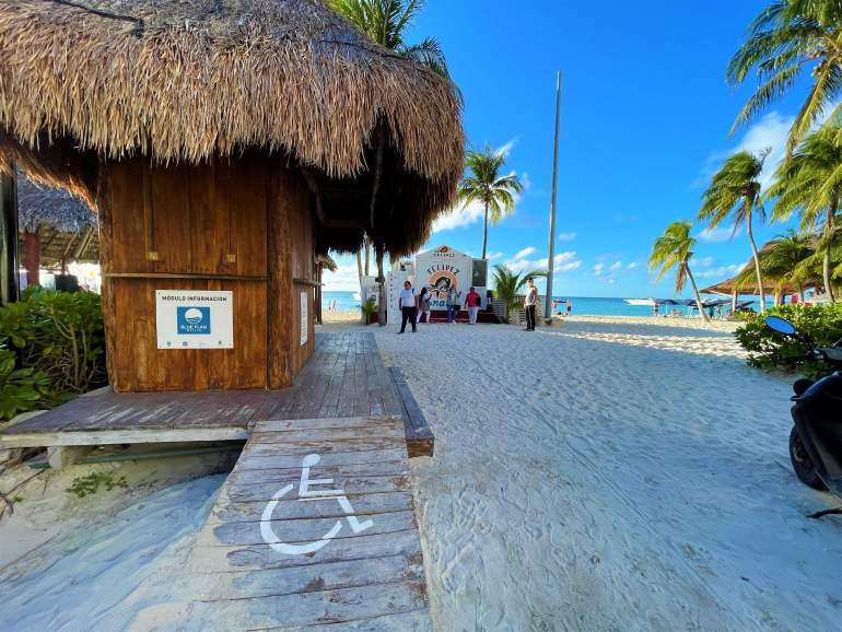 A wheelchair accessible path in Playa Norte, Isla Mujeres.
