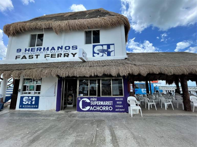 The 2-story 9 Hermanos ferry building in Chiquila.