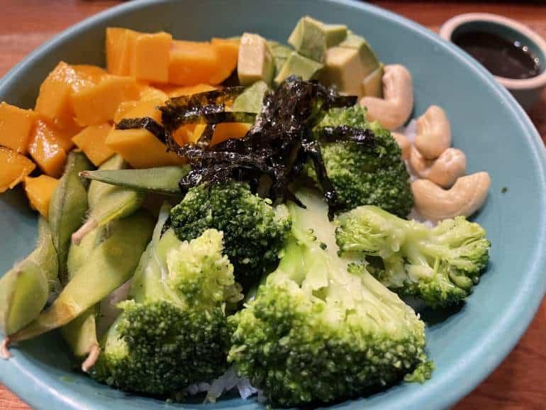 A vegan Asian-inspired bowl with veggies.