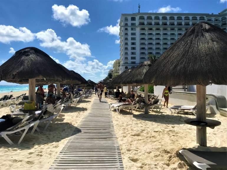 Beach boardwalk in Cancun.
