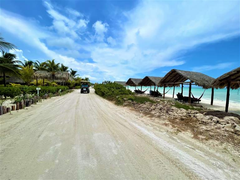 Driving a golf cart by the beach is a great wheelchair accessible thing to do in Holbox.