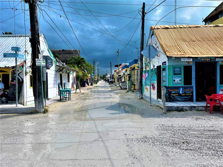 Flooded roads in Holbox town.