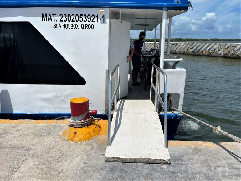 The wheelchair accessible ramp on the Holbox ferry.