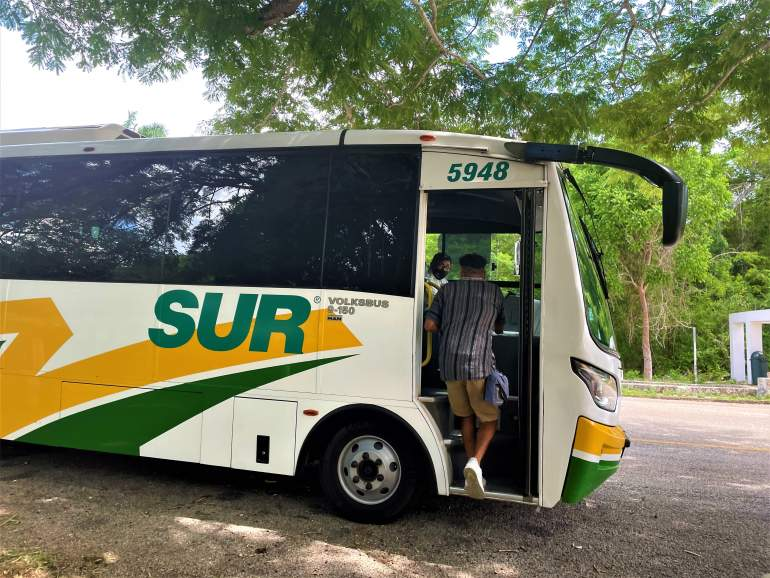 Getting on the bus from Merida to Uxmal.