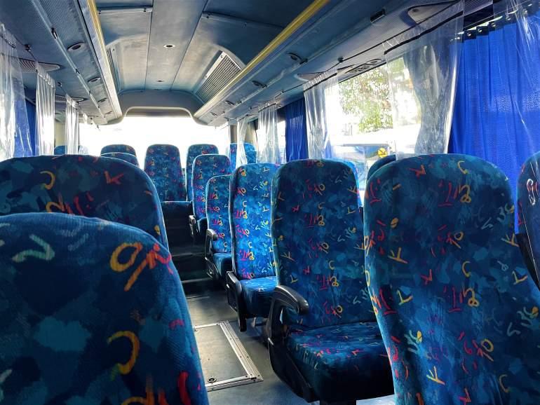 Inside of the Autoprogreso bus.