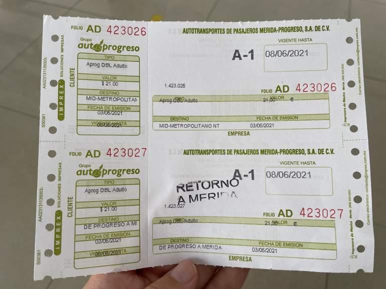 Round trip bus ticket from Merida to Progreso.