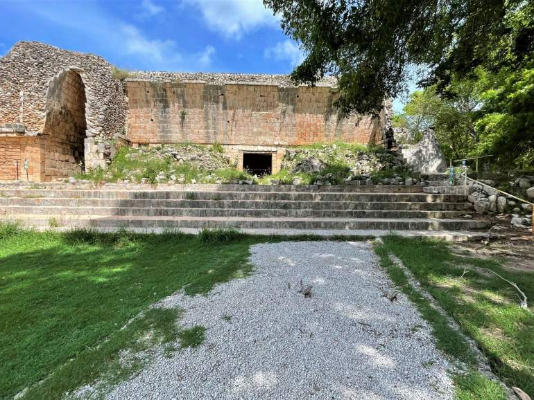 Steps that end wheelchair accessibility at Uxmal.