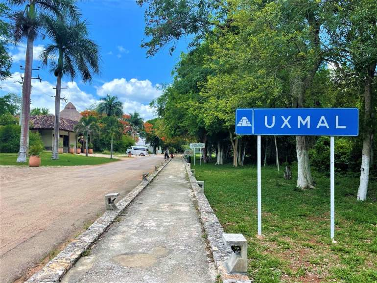 """A sign that reads """"Uxmal."""""""