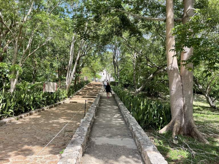 Wheelchair accessible cement path through the forest leading to Uxmal.