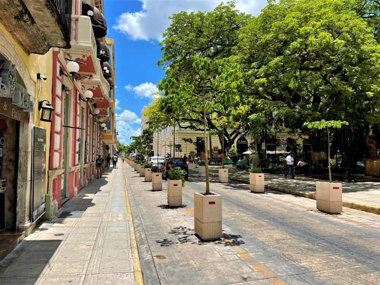 A street view in downtown Merida.