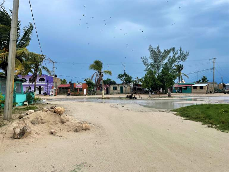 Las Coloradas town with puddles.
